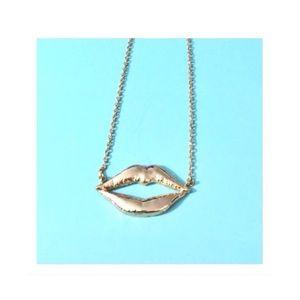 Gold Kiss Kiss Lip Emblem Necklace